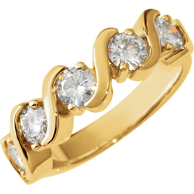 14KT Yellow Gold 4mm Round Forever Classic Moissanite Five-Stone Anniversary Ring