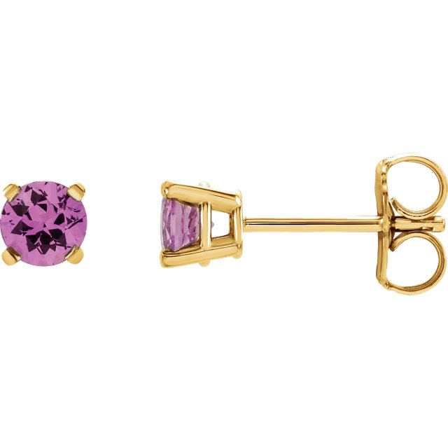 Shop Real 14 KT Yellow Gold 4mm Round Pink Sapphire Earrings