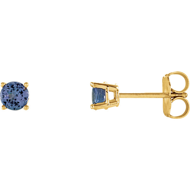 Contemporary 14 Karat Yellow Gold 4mm Round Tanzanite Earrings