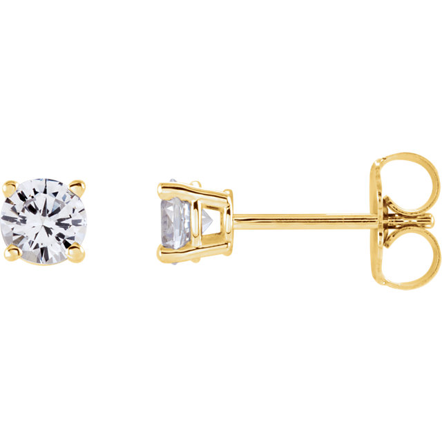 Great Deal in 14 Karat Yellow Gold 4mm Round Sapphire Earrings