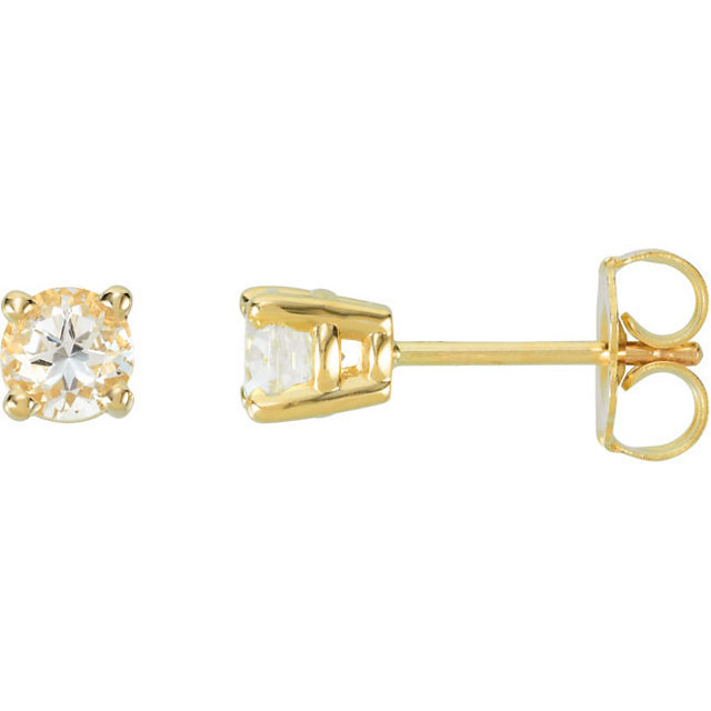 Easy Gift in 14 Karat Yellow Gold 4mm Round White Topaz FriCaration Post Stud Earrings