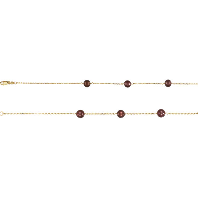 Chic 14 Karat Yellow Gold Freshwater Cultured Dyed Chocolate Pearl 18