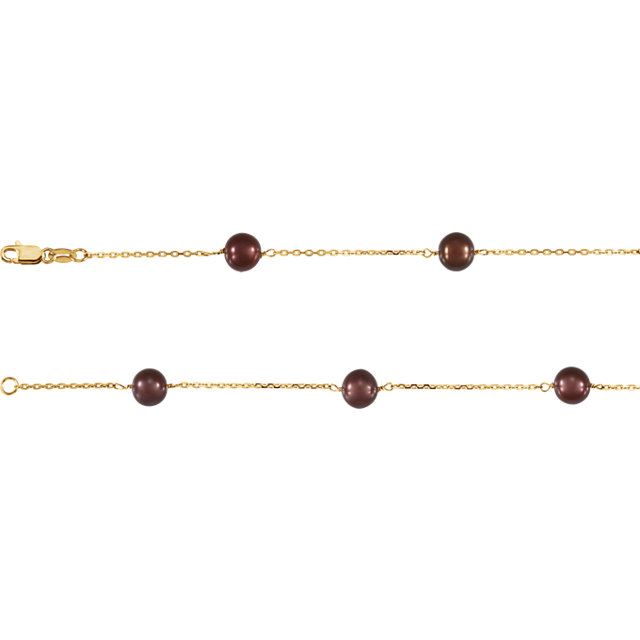 Fantastic 14 Karat Yellow Gold Genuine Freshwater Cultured Pearl Dyed Chocolate 7.5