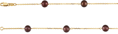 Fine Quality 14 Karat Yellow Gold Freshwater Cultured Dyed Chocolate Pearl 7.5