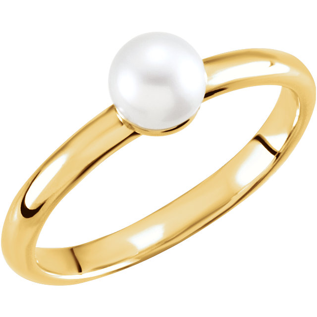 Must See 14 KT Yellow Gold 5.5-6mm Freshwater Cultured Pearl Ring