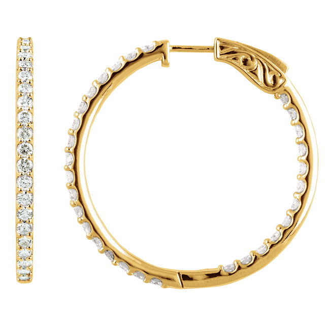 Surprise Her with  14 Karat Yellow Gold 5 Carat Total Weight Diamond Inside/Outside Hoop Earrings