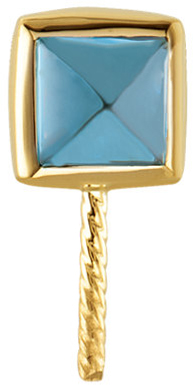 14KT Yellow Gold 5mm London Blue Topaz & 11mm South Sea Cultured Pearl Pendant