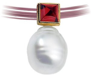 14KT Yellow Gold 5mm Rhodolite Garnet & 11mm South Sea Cultured Pearl Pendant