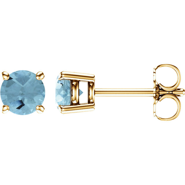 Easy Gift in 14 Karat Yellow Gold 5mm Round Aquamarine Earrings
