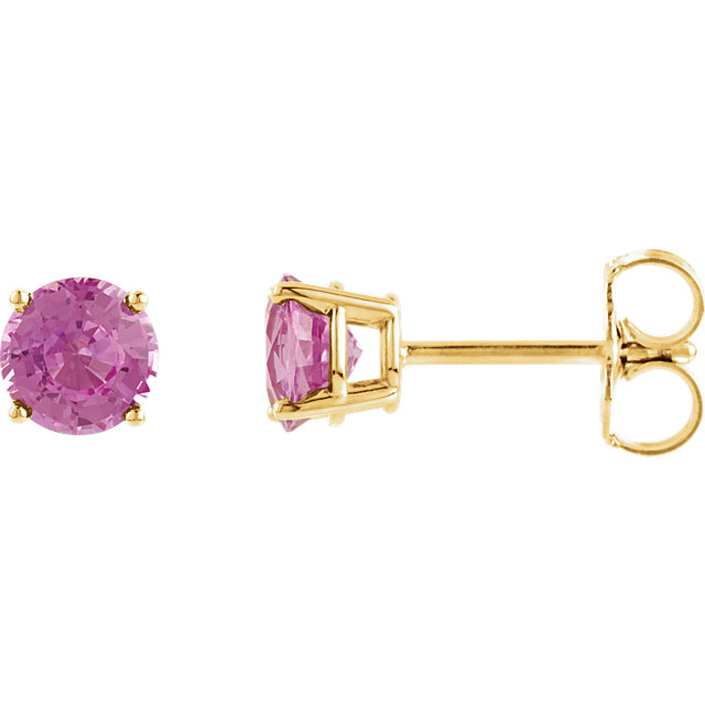 Great Buy in 14 KT Yellow Gold 5mm Round Baby Pink Topaz Earrings