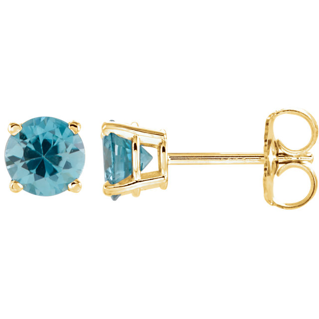 14 Karat Yellow Gold 5mm Round Blue Zircon Earrings