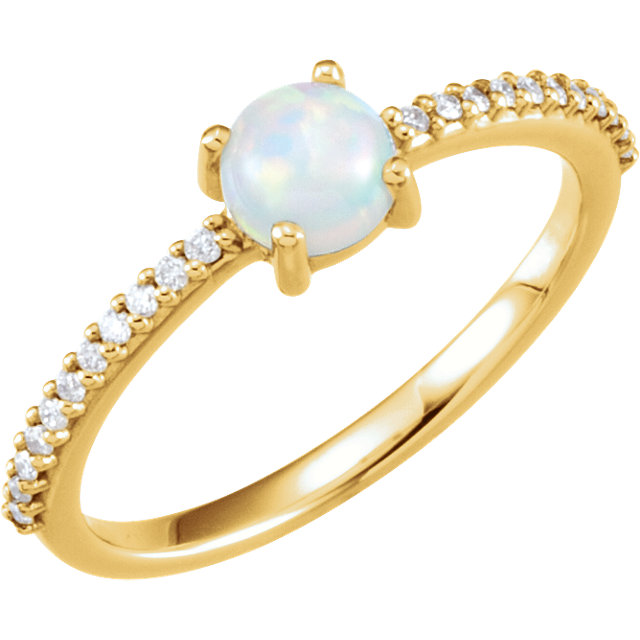 Surprise Her with  14 Karat Yellow Gold 5mm Round Cabochon Genuine Chatham Created Created Opal & 0.12 Carat Total Weight Diamond Ring