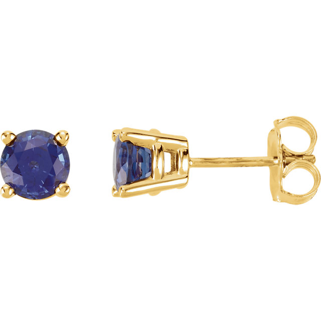 Genuine 14 KT Yellow Gold 5mm Round Genuine Chatham Created Created Blue Sapphire FriCaration Post Stud Earrings