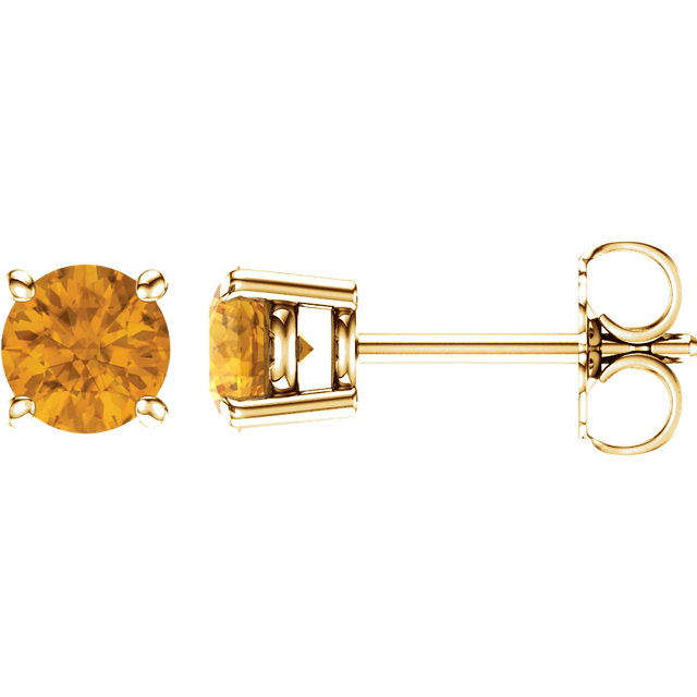 Fine Quality 14 Karat Yellow Gold 5mm Round Citrine Earrings