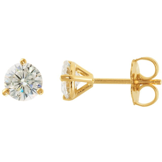 14KT Yellow Gold 5mm Round Forever Classic Moissanite 3-Prong Stud Earrings