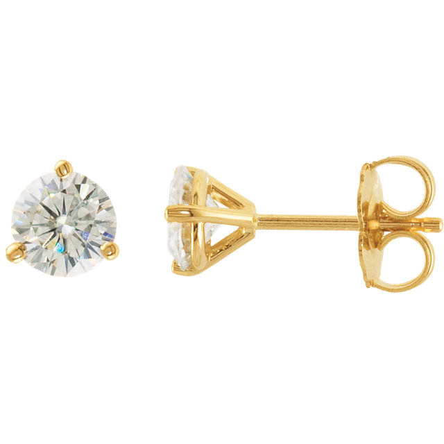 14 KT Yellow Gold 5mm Round Forever Classic Moissanite 3-Prong Stud Earrings