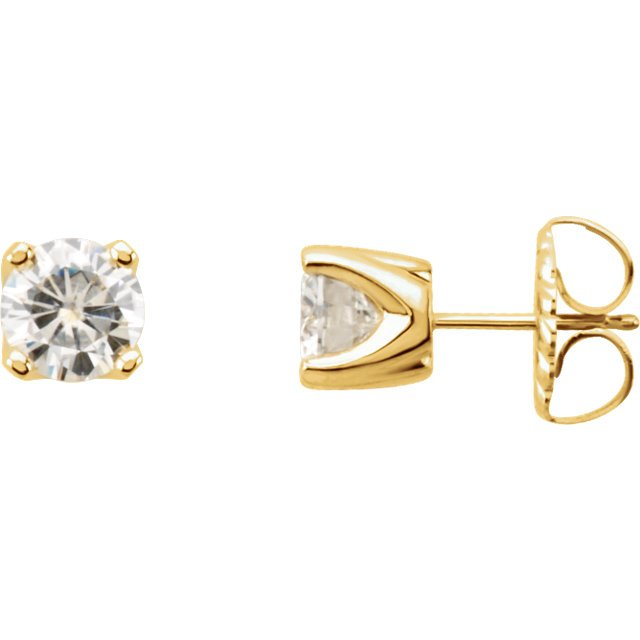 14KT Yellow Gold 5mm Round Forever Classic Moissanite 4-Prong Stud Earrings