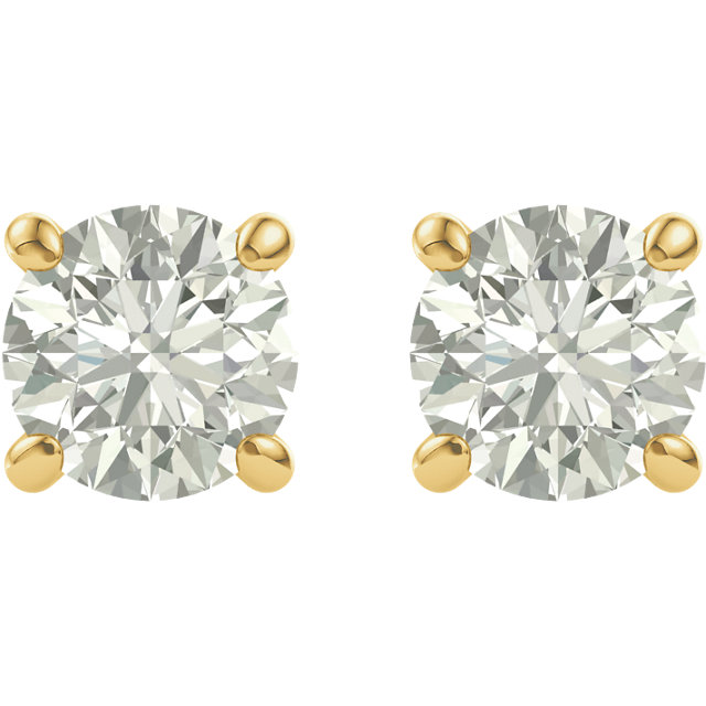 14KT Yellow Gold 5mm Round Forever Classic Moissanite  Earrings