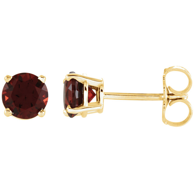 Genuine  14 KT Yellow Gold 5mm Round Mozambique Garnet Earrings