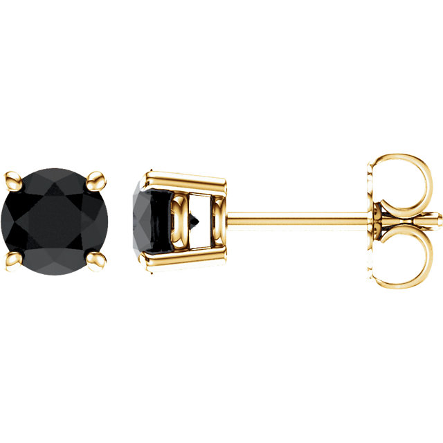 Genuine 14 KT Yellow Gold 5mm Round Onyx Earrings