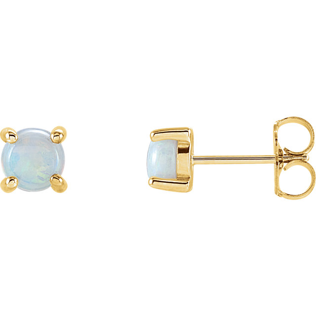 Must See 14 KT Yellow Gold Opal Cabochon Earrings