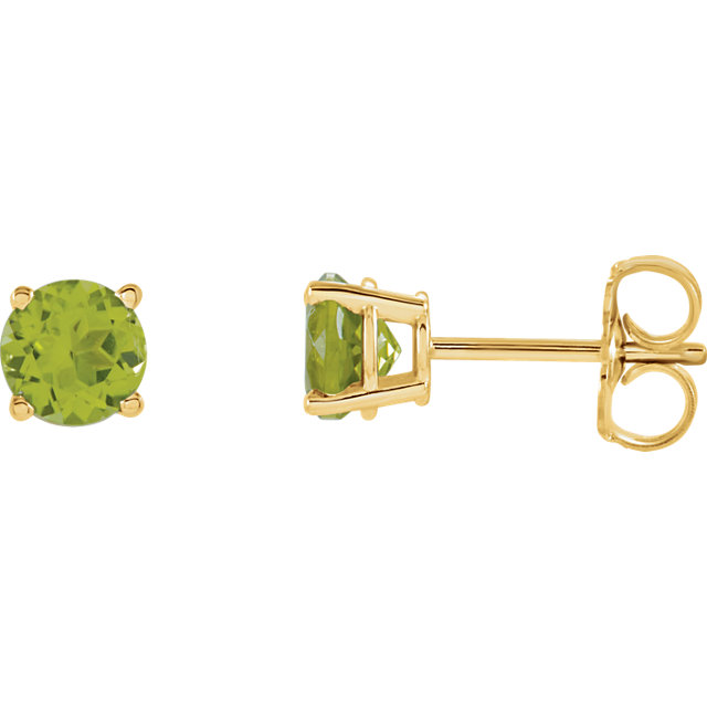 Beautiful 14 Karat Yellow Gold 5mm Round Peridot Earrings