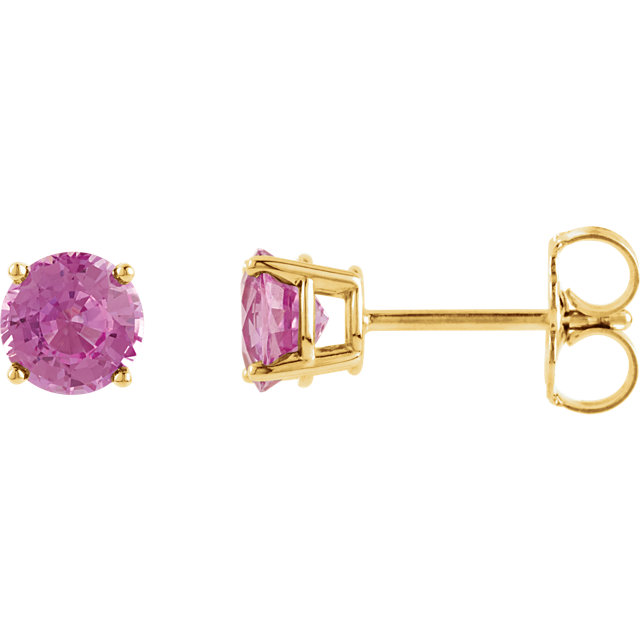 Great Gift in 14 Karat Yellow Gold 5mm Round Pink Sapphire Earrings