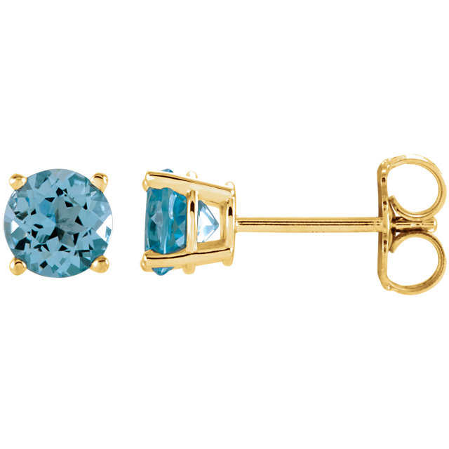 Great Deal in 14 Karat Yellow Gold 5mm Round Sky Blue Topaz Earrings