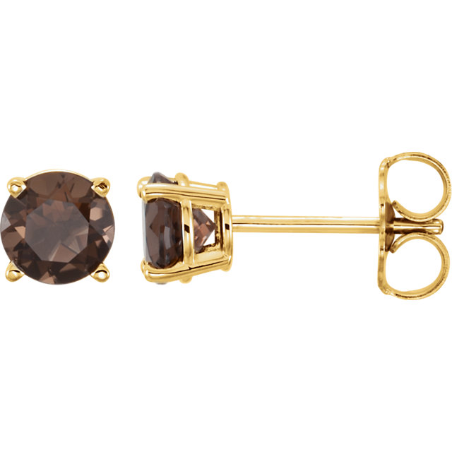 Contemporary 14 Karat Yellow Gold 5mm Round Smoky Quartz Earrings