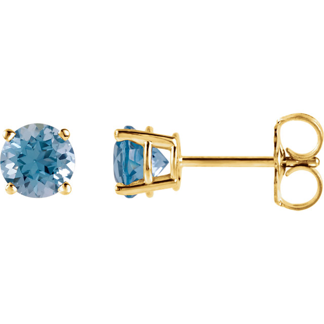 Wonderful 14 Karat Yellow Gold 5mm Round Swiss Blue Topaz Earrings