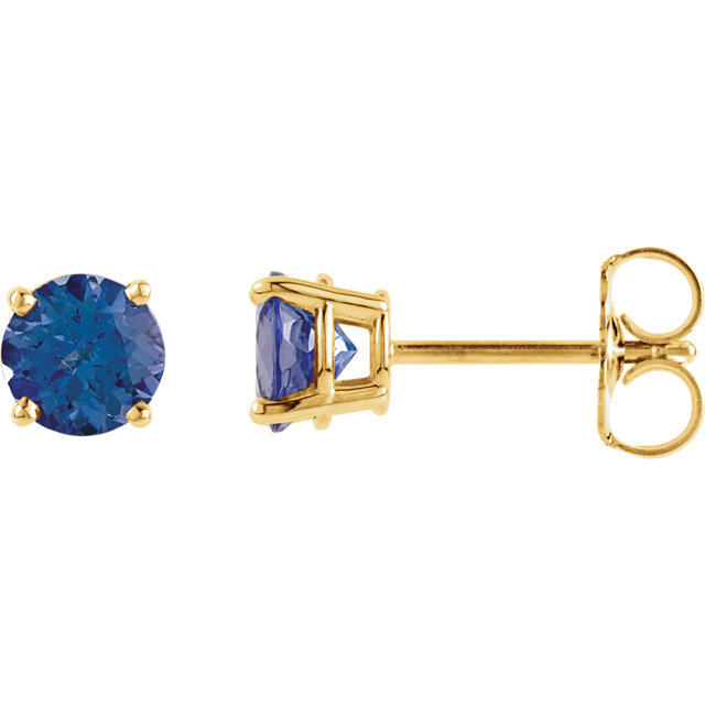Eye Catchy 14 Karat Yellow Gold 5mm Round Tanzanite Earrings