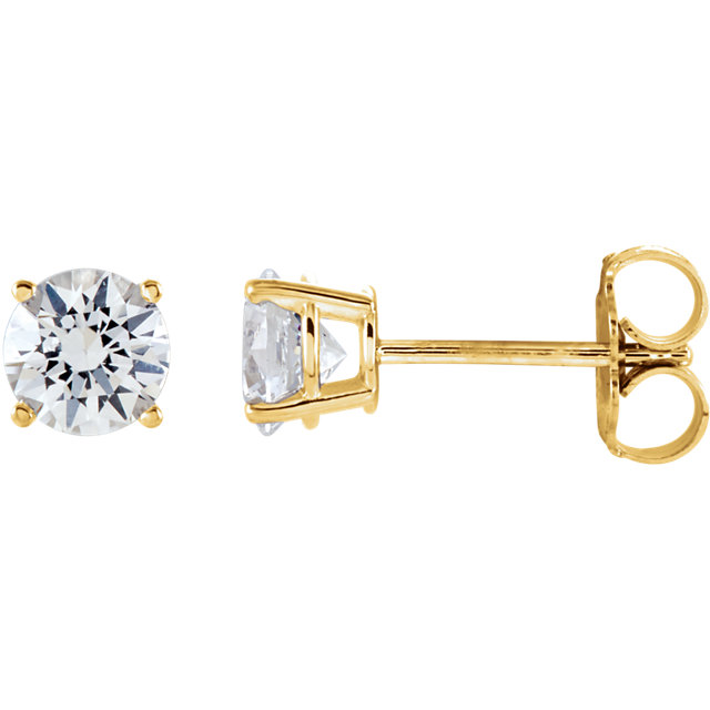 Perfect Gift Idea in 14 Karat Yellow Gold 5mm Round Sapphire Earrings