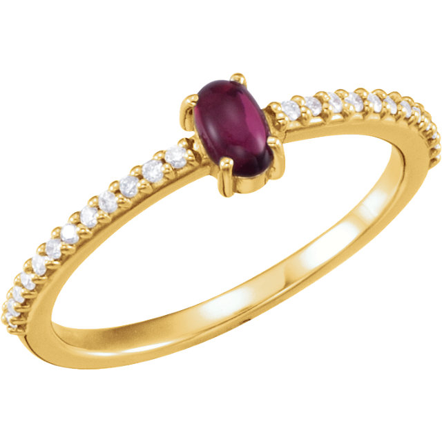 Stunning 14 Karat Yellow Gold 5x3mm Oval Cabochon Pink Tourmaline & 0.12 Carat Total Weight Diamond Ring