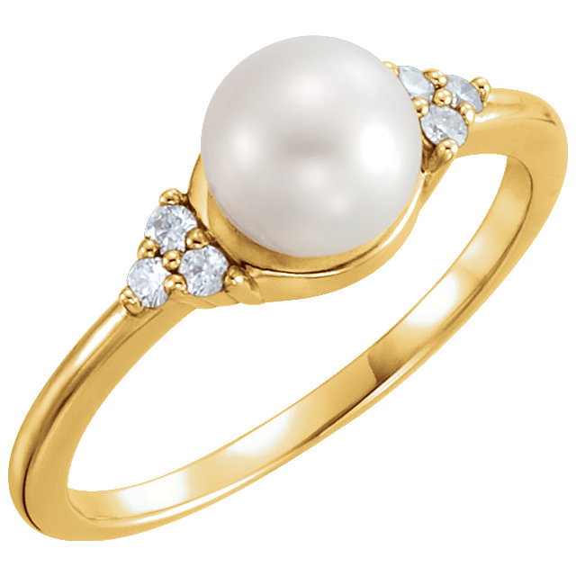 Must Have 14 Karat Yellow Gold 6.5-7mm Genuine Freshwater Cultured Pearl & .09 Carat Total Weight Diamond Ring