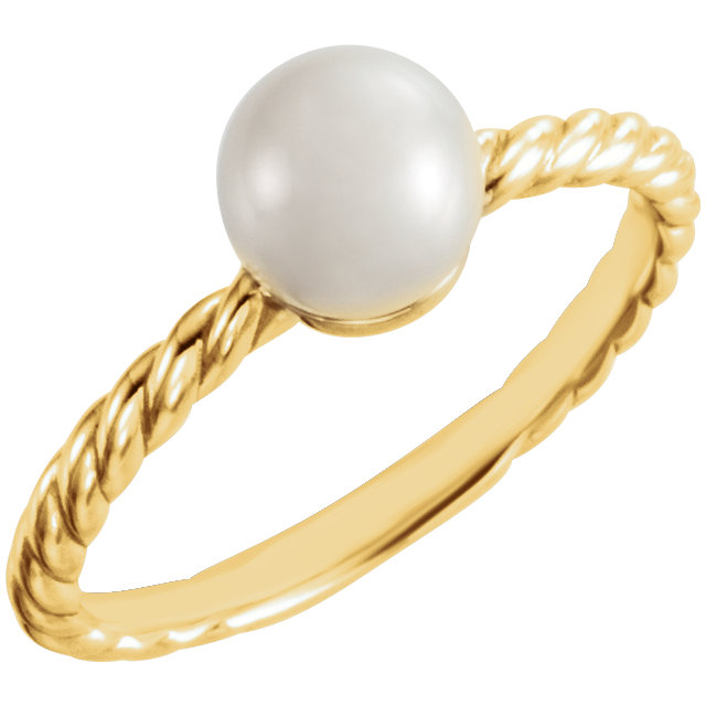 Fine 14 KT Yellow Gold 6.5-7mm Freshwater Cultured Pearl Ring