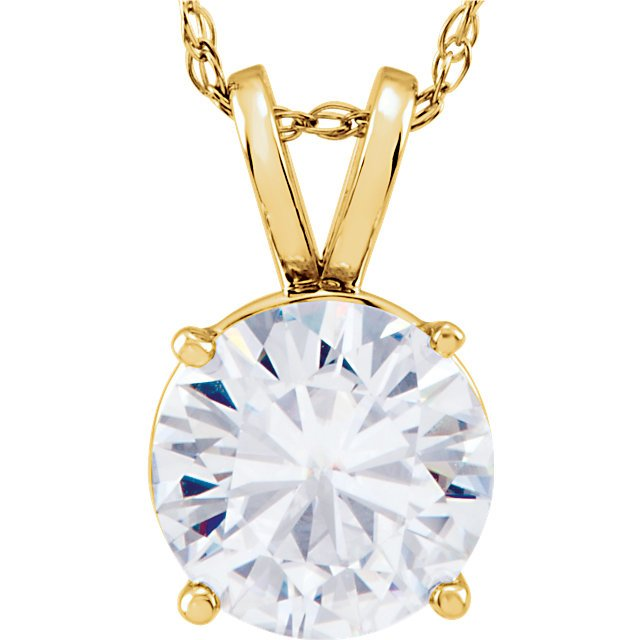 14KT Yellow Gold 6.5mm Round Forever Classic Moissanite 18
