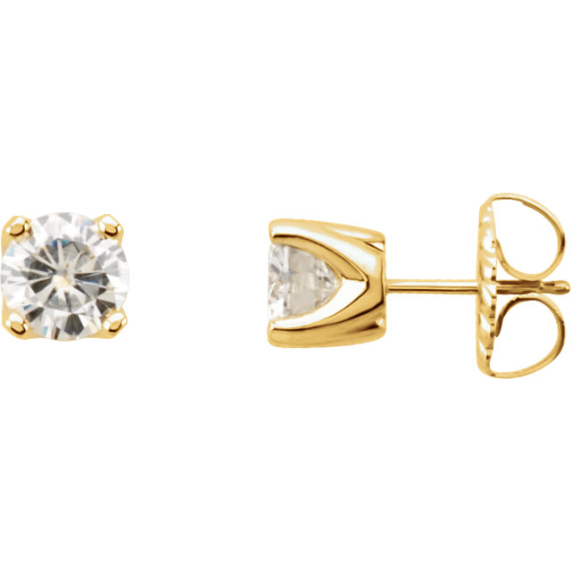 14KT Yellow Gold 6.5mm Round Forever Classic Moissanite 4-Prong Stud Earrings