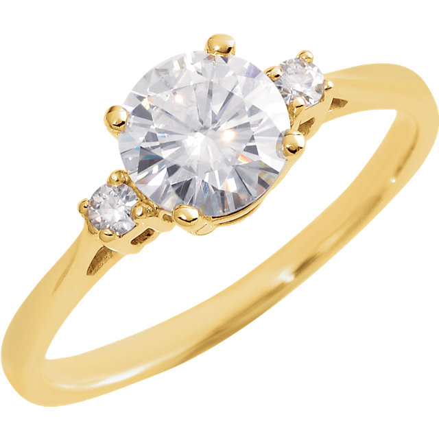 14KT Yellow Gold 6.5mm Round Forever Classic Moissanite Accented Engagement Ring