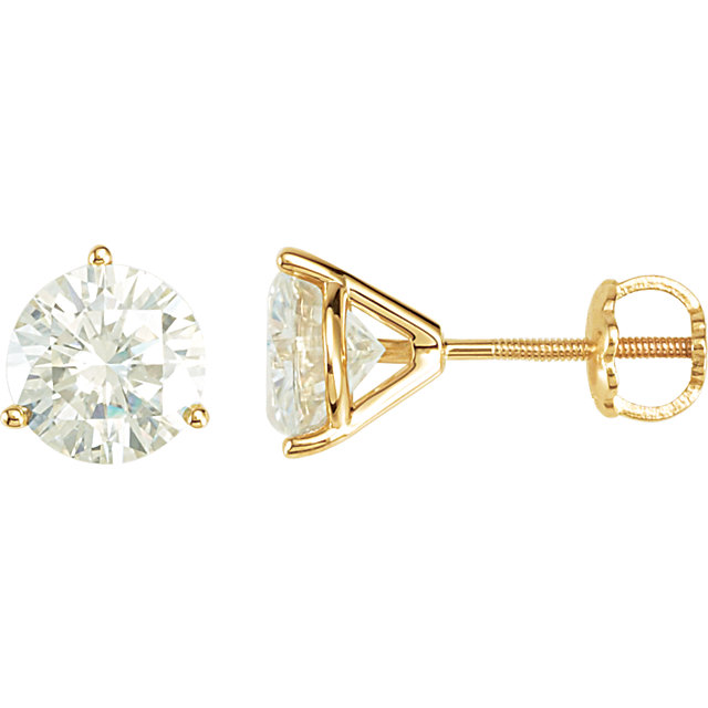 14 KT Yellow Gold 6.5mm Round Forever Classic Moissanite Earring