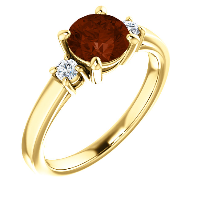 Appealing Jewelry in 14 Karat Yellow Gold 6.5mm Round Mozambique Garnet & 0.17 Carat Total Weight Diamond Ring