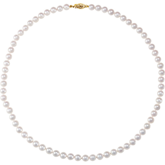 Cultured Akoya Pearl Necklace in 14 Karat Yellow Gold 6-6.5mm Akoya Cultured Pearl 18