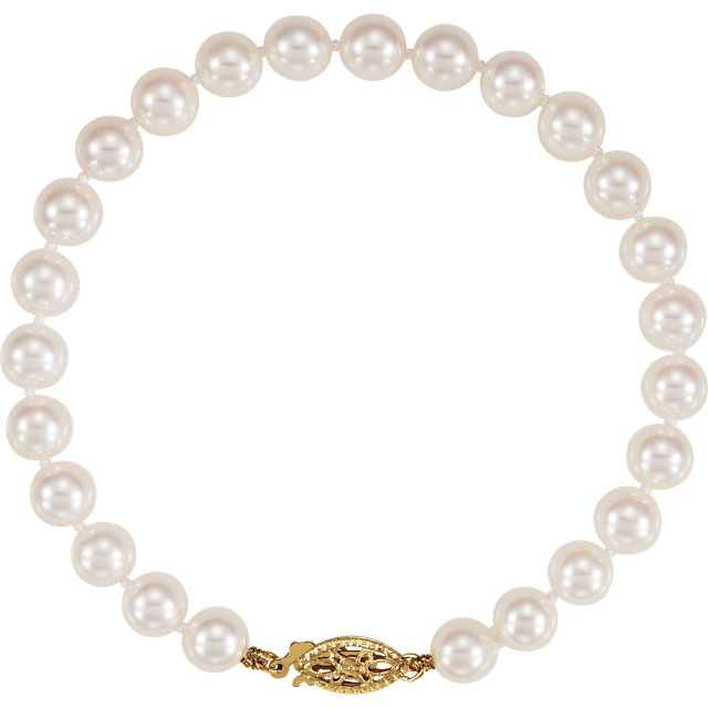 Beautiful 14 Karat Yellow Gold 6-6.5mm Akoya Cultured Pearl 7