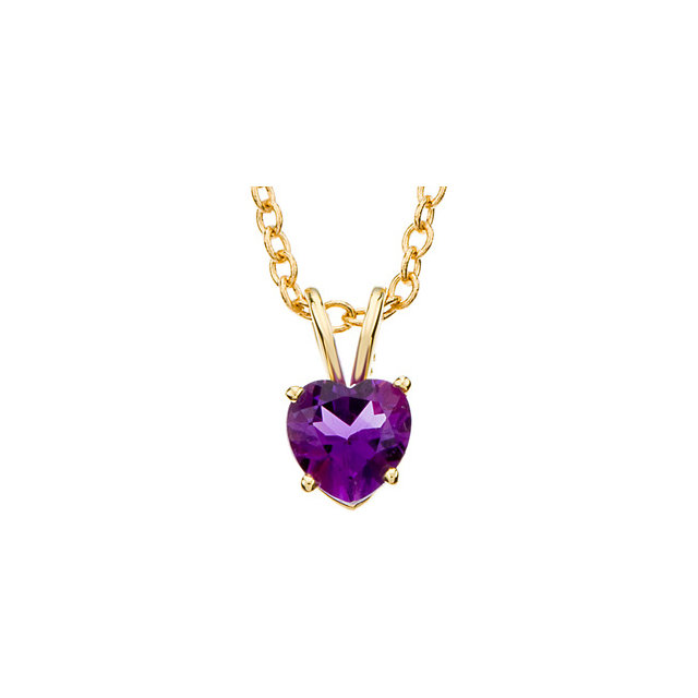 Best 14 Karat Yellow Gold 6mm Heart Genuine Amethyst 18