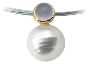 14KT Yellow Gold 6mm Blue Chalcedony & South Sea Cultured Circle Pearl Pendant