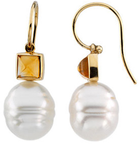 14KT Yellow Gold 6mm Citrine Semi-set Earrings for Pearl