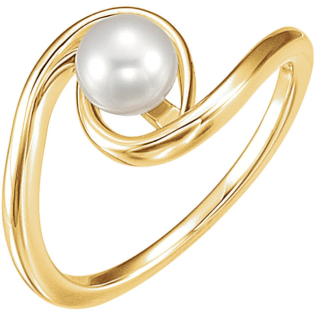 Great Gift in 14 Karat Yellow Gold 6mm Freshwater Cultured Pearl Ring