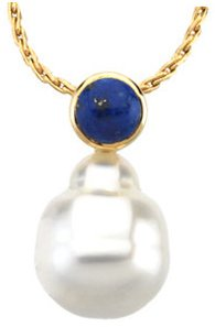 14KT Yellow Gold 6mm Lapis & 11mm South Sea Cultured Pearl Pendant