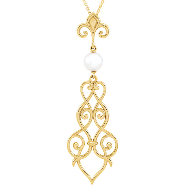 Chic 14 Karat Yellow Gold 6mm Pearl Fleur-De-Lis Scroll 18