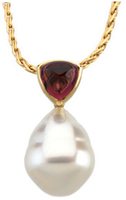 14KT Yellow Gold 6mm Rhodolite Garnet & 11mm South Sea Cultured Pearl Pendant