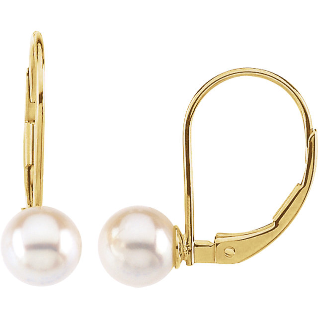 Genuine 14 KT Yellow Gold 6mm Round Akoya Cultured Pearl Lever Back Earrings